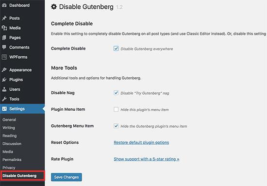 Disable Gutenberg settings