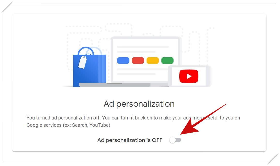 Disable ad personalization in Google