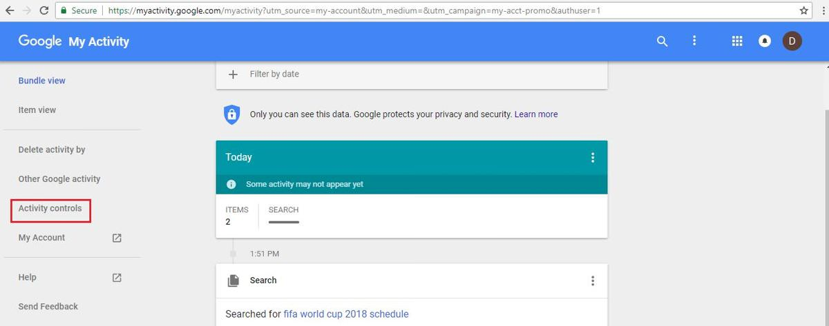 Disable your Google history