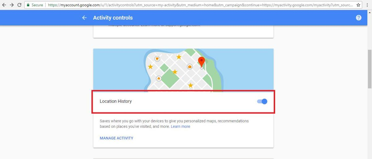 Disable location history