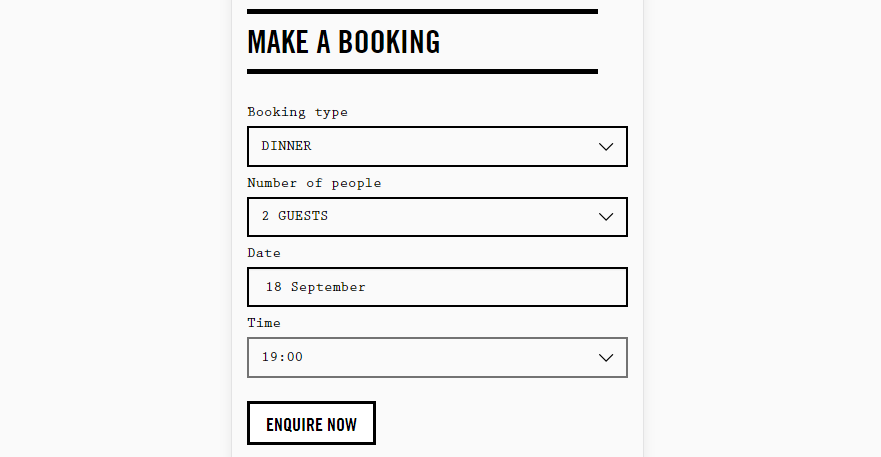 A reservation form including a drop-down menu with specific times.