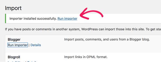 Run Blogger importer