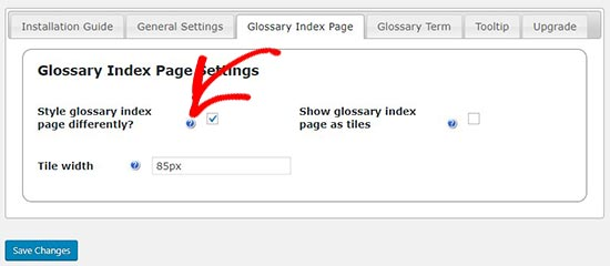 Index page settings
