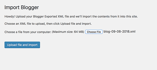 Upload the file to import