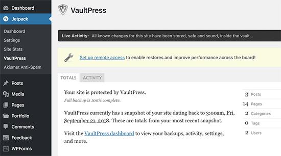 VaultPress dashboard