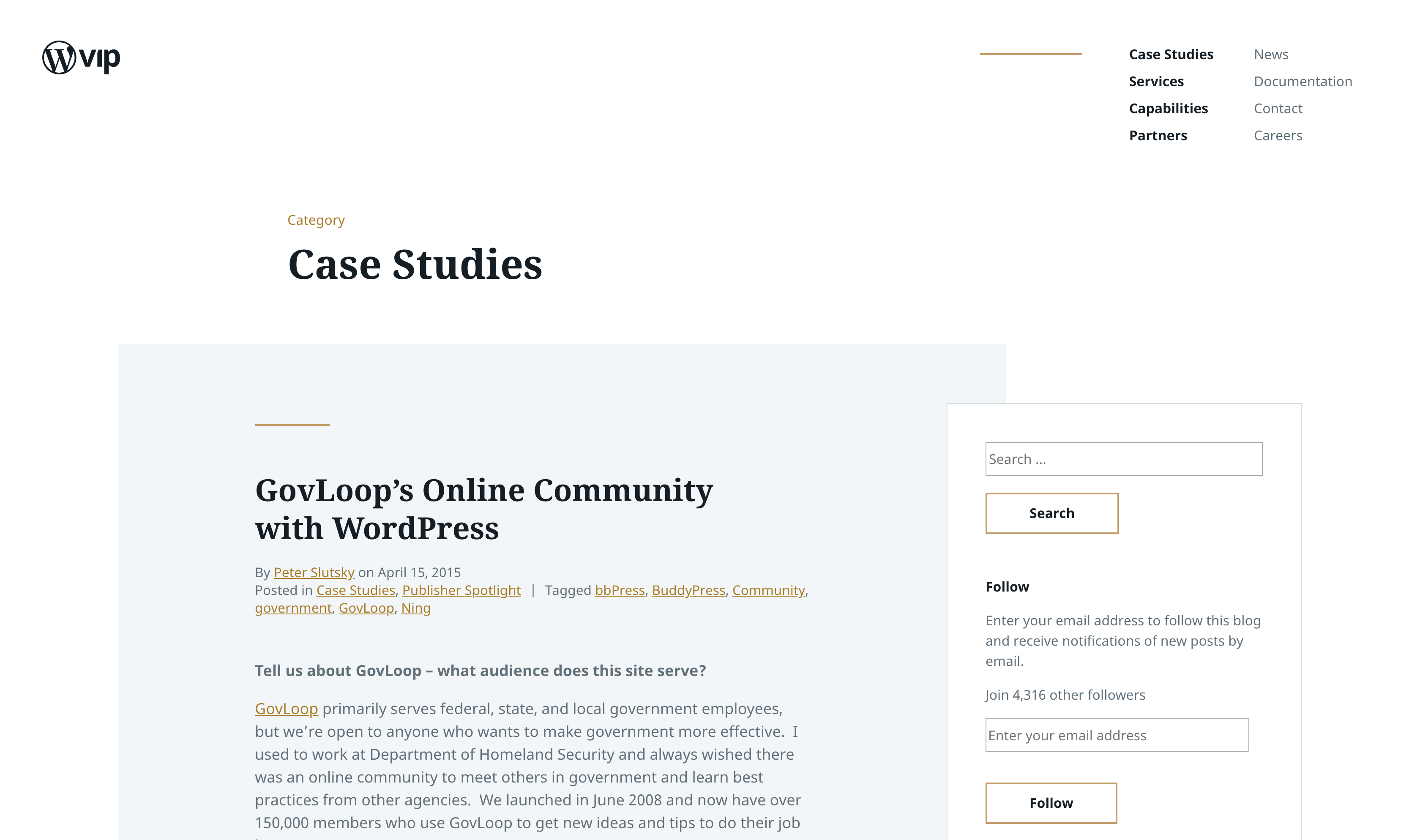The WordPress.com Case Studies page.