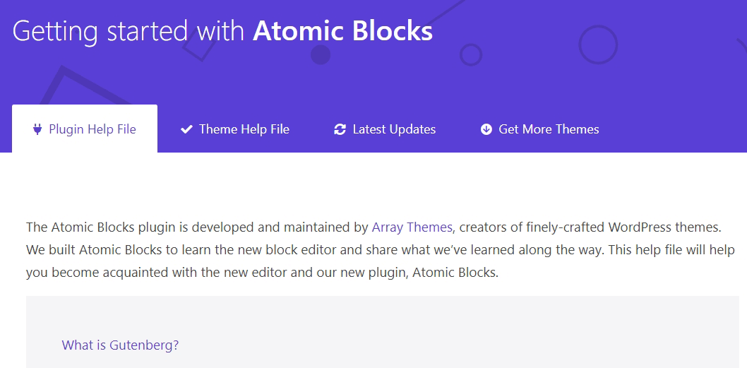 The Atomic Blocks welcome page.