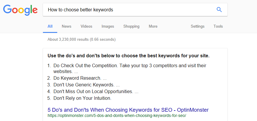 How to choose better keywords for your website.