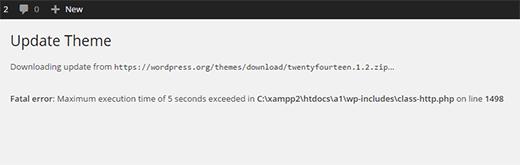Maximum execution time error in WordPress