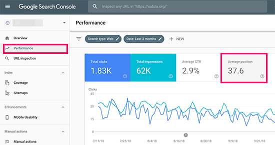 Finding your keyword positions in Google Search Console