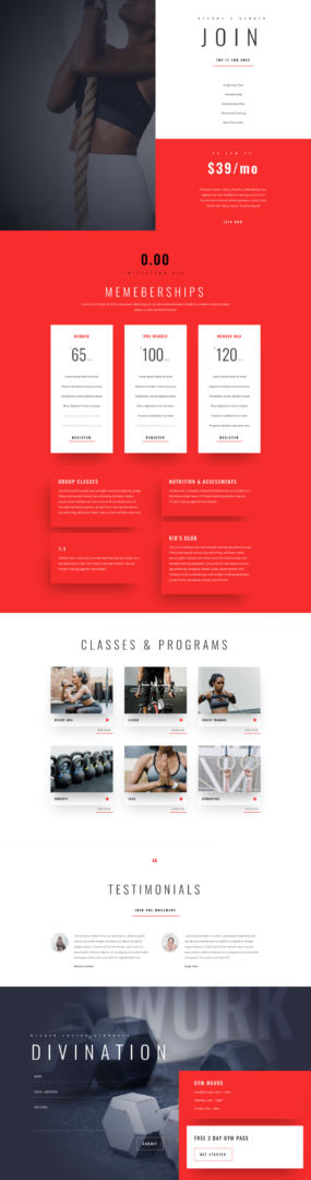 divi fitness gym layout pack