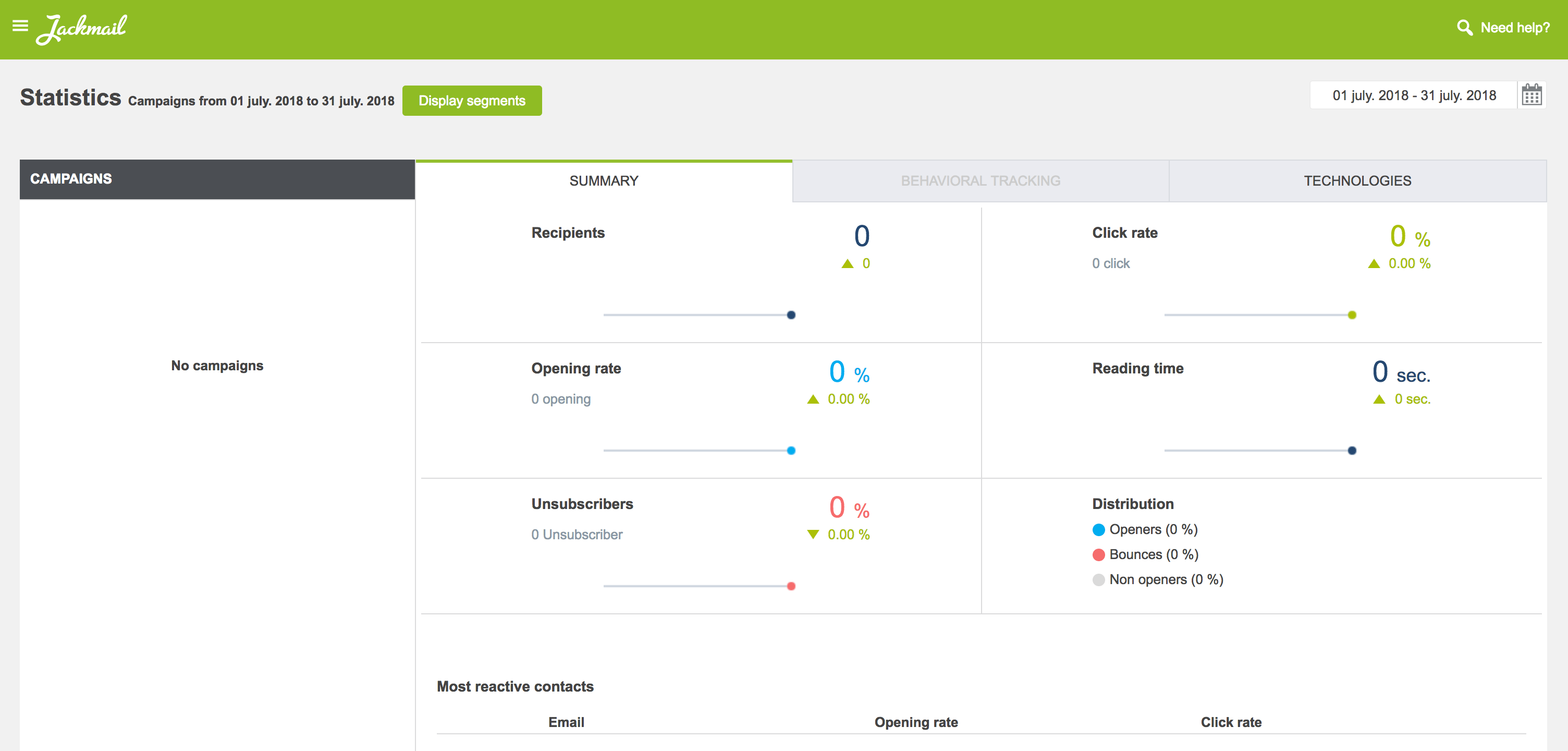 The Statistics screen in Jackmail.