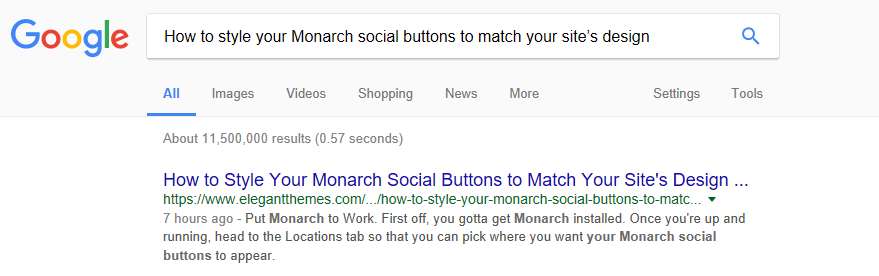 A Google search about Monarch social buttons.