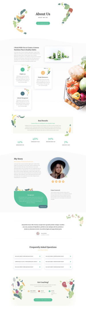 divi nutritionist layout pack