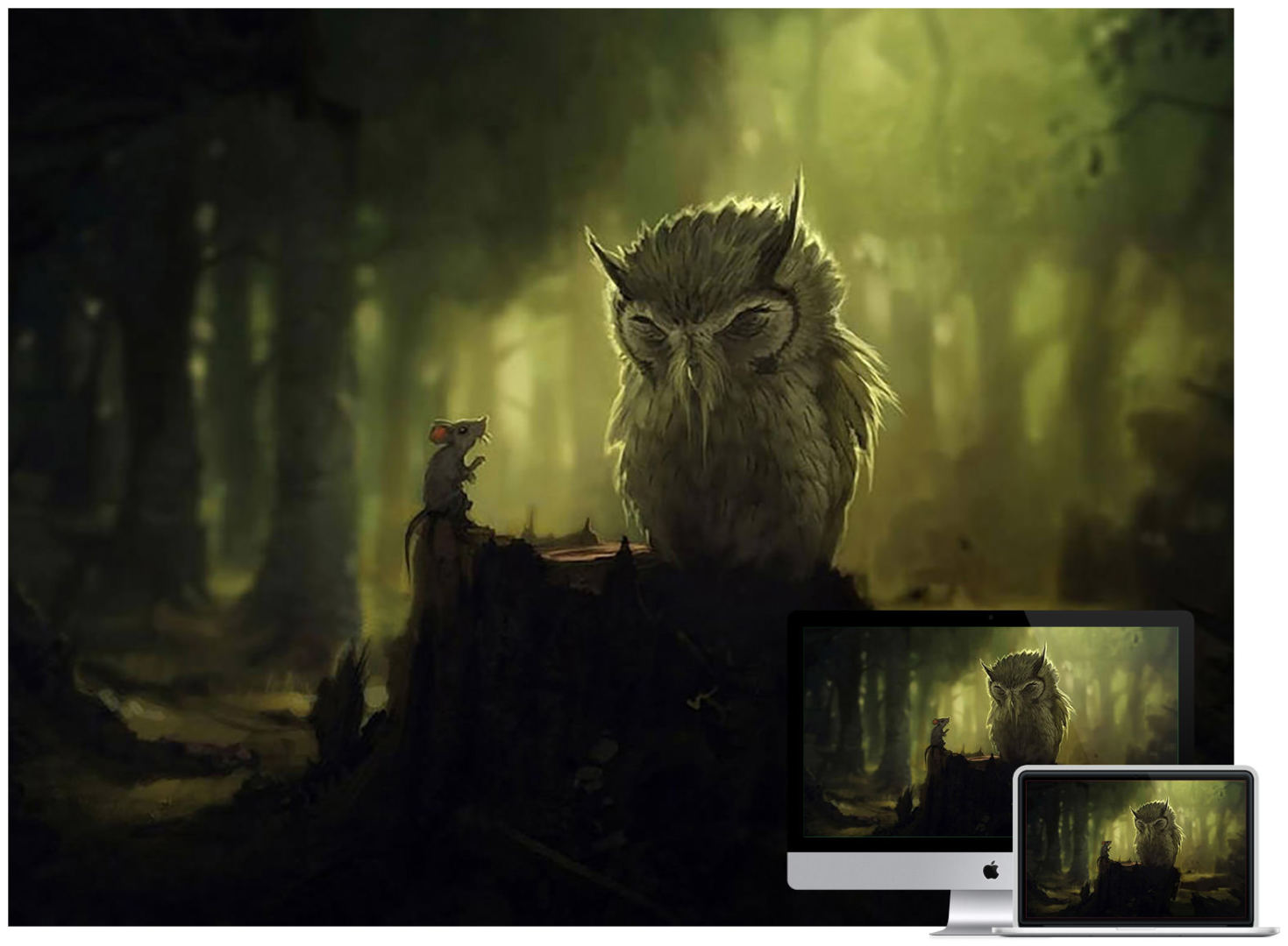 owl-in-forest-wallpaper