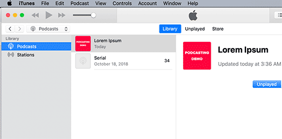 Preview your podcast in iTunes