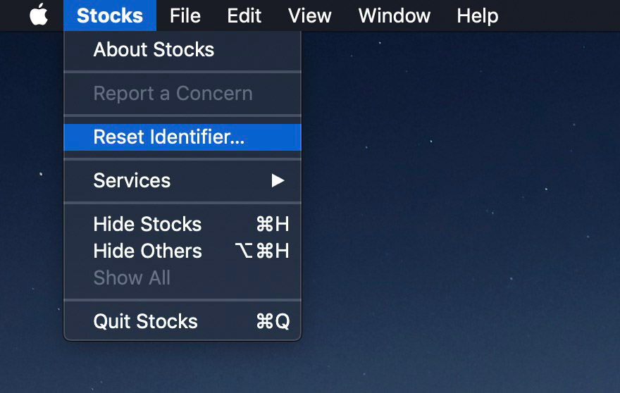 reset identifier for mac