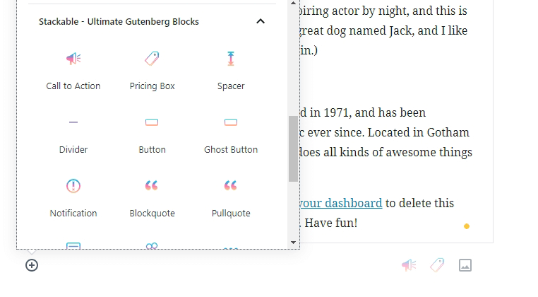 Some of the blocks Stackable adds to Gutenberg.