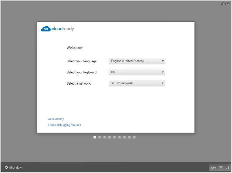 Welcome screen of CloudReady Installer