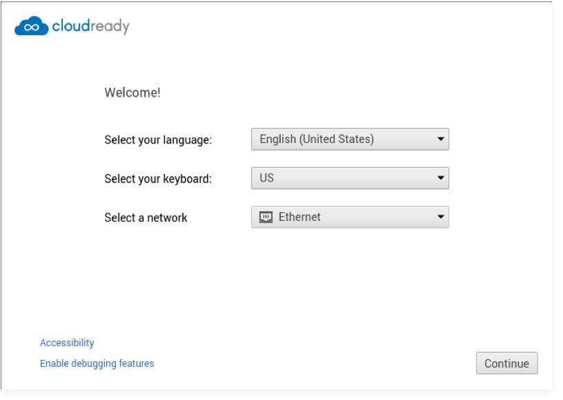 Welcome screen of CloudReady