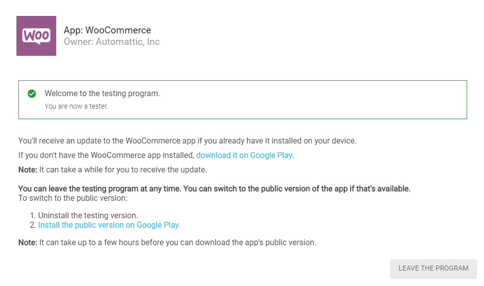 Opting into the WooCommerce Android beta test.