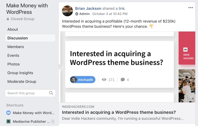 WordPress site for sale
