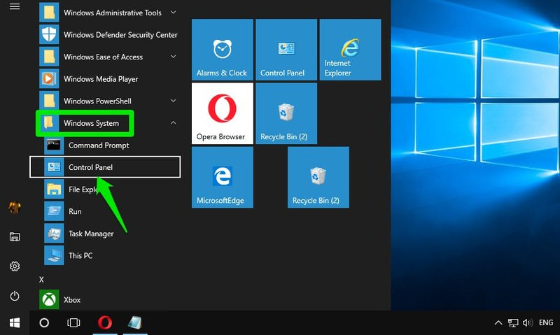 accessing control panels from start menu