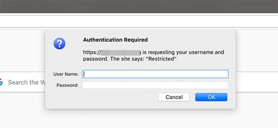 Password protected website