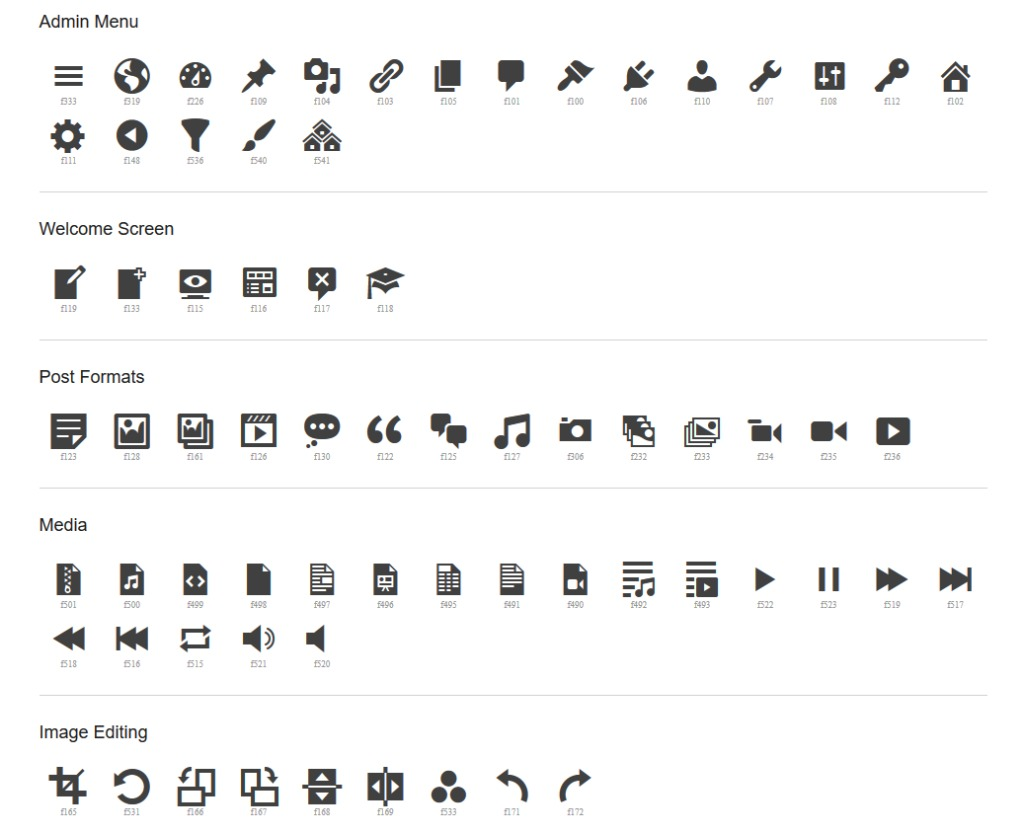 dashicons icon fonts wordpress