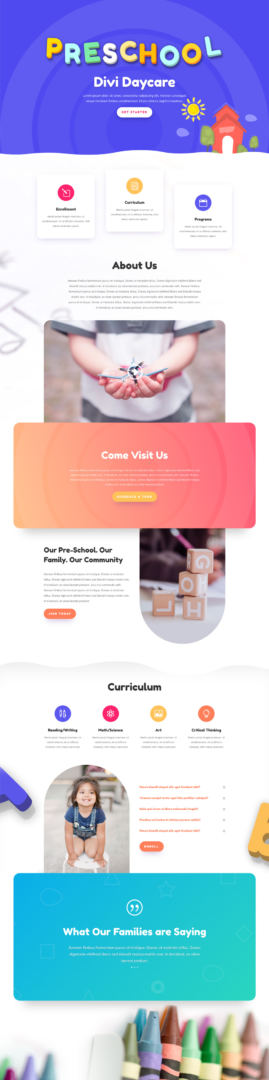 divi daycare layout