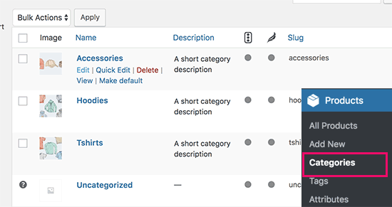 Edit a product category in WooCommerce