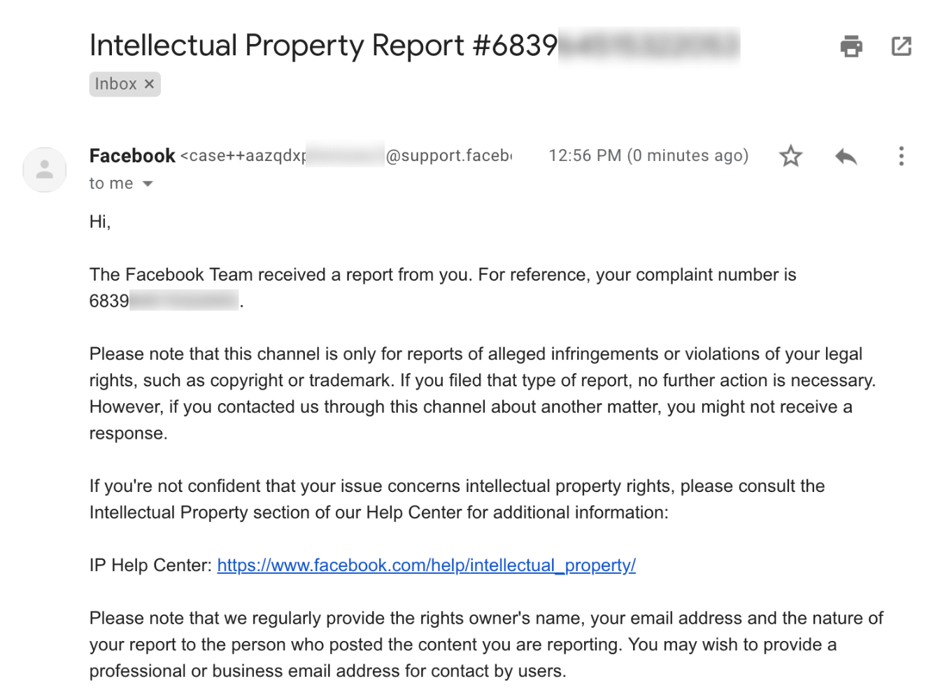 Facebook intellectual property report