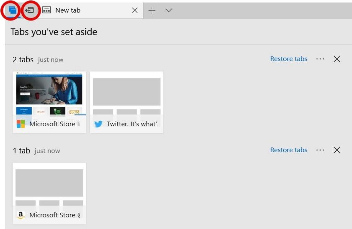 Set aside tabs for later in MS Edge