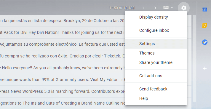 Opening Gmail's settings.
