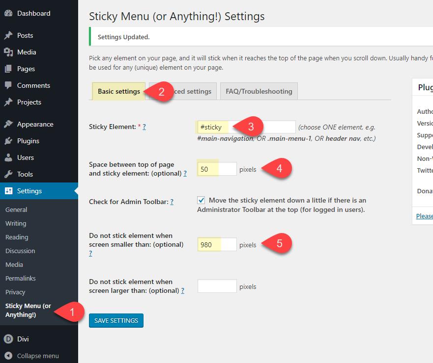 divi page element sticky