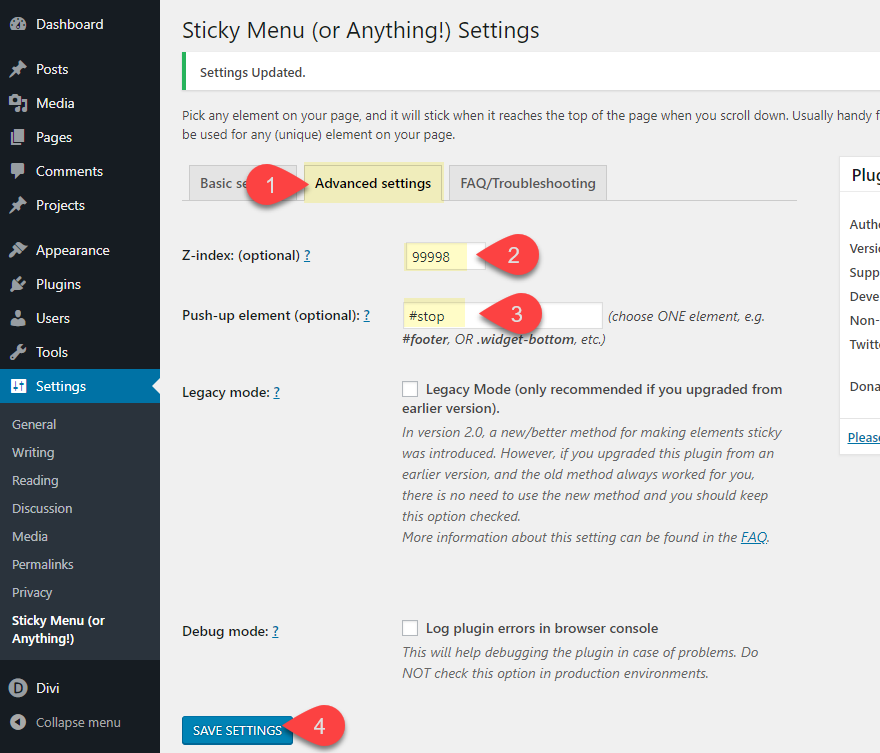 divi page element sticky