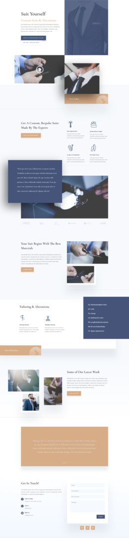 divi suit tailor layout pack