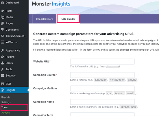 URL builder in MonsterInsights