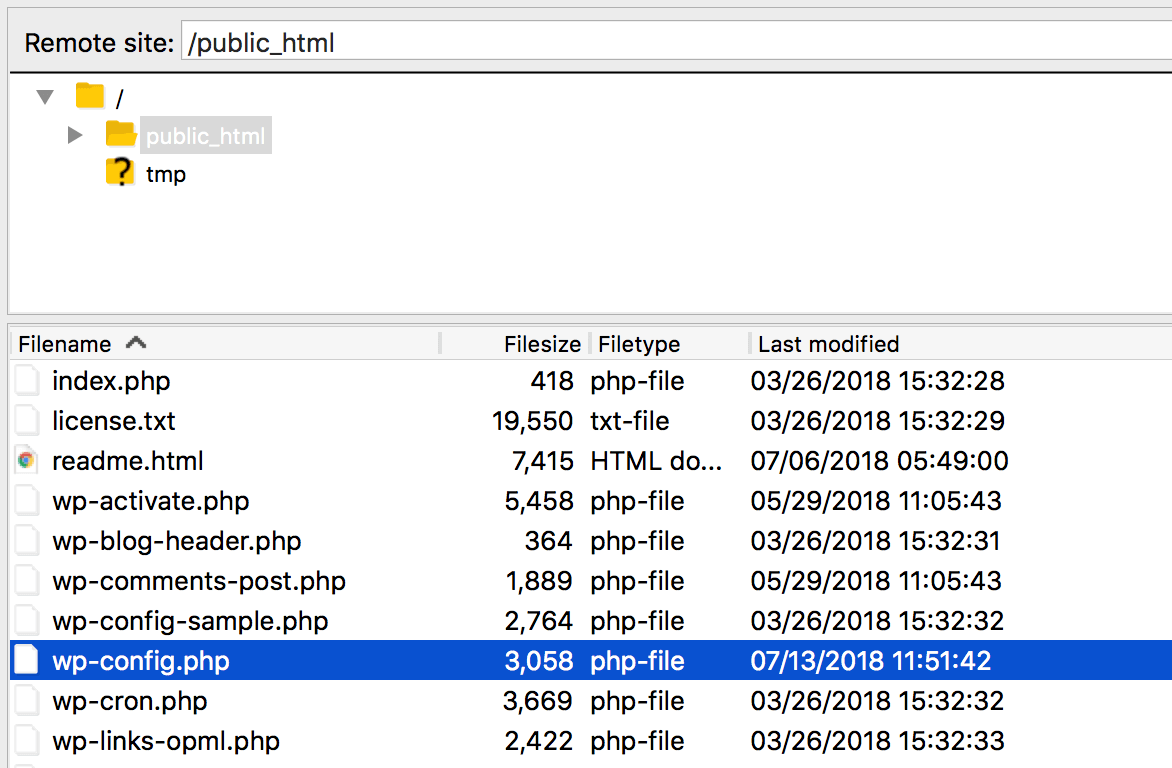 A site's root folder, containing the wp-config.php file.