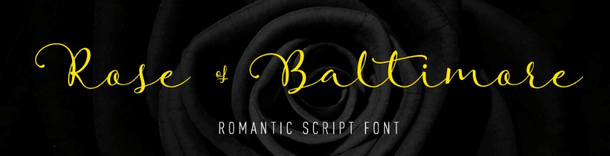An example of the Rose of Baltimore font.
