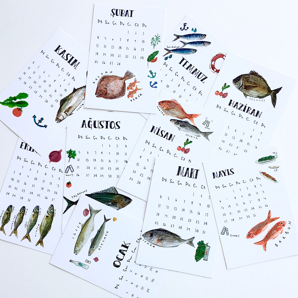 Watercolor Illustration Calendar