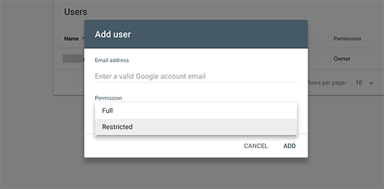 Search console access to new user