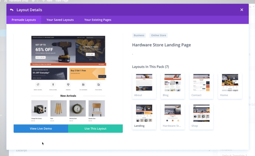 divi hardware store layout pack