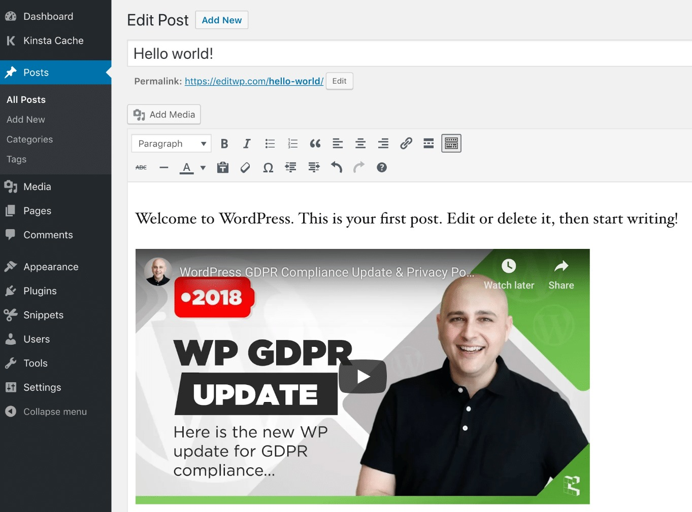 Embed YouTube video in WordPress editor