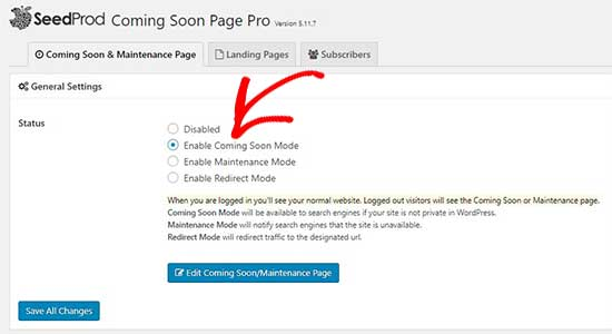 Enable coming soon page