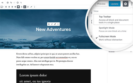 Fullscreen mode in new WordPress editor