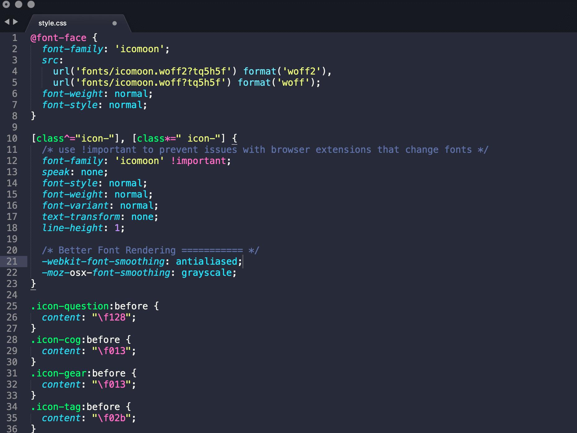 IcoMoon CSS file