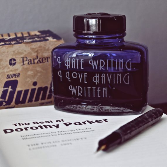 Etched Vintage Ink Bottles