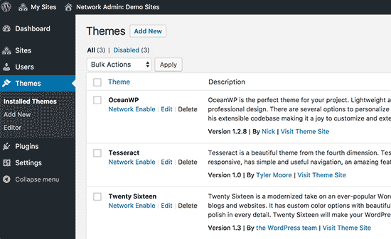 Installed themes on your WordPress multisite network