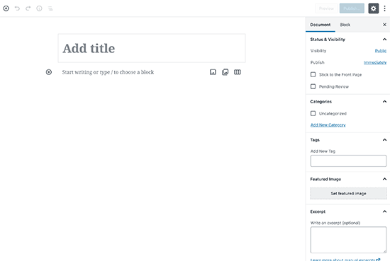 New WordPress Block Editor also known as Gutenberg